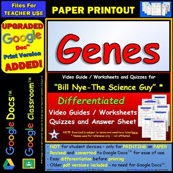 Bill Nye - Genes – Worksheet, Answer Sheet, and Two Quizzes.