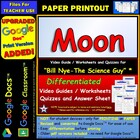 Bill Nye - Moon  Worksheet, Answer Sheet, and Two Quizzes.