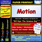 Bill Nye - Motion – Worksheet, Answer Sheet, and Two Quizzes.