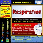 Bill Nye - Respiration – Worksheet, Answer Sheet, and Two