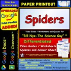 Bill Nye - Spiders – Worksheet, Answer Sheet, and Two Quizzes.