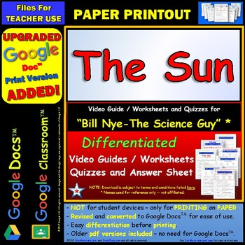 Bill Nye - Sun – Worksheet, Answer Sheet, and Two Quizzes.