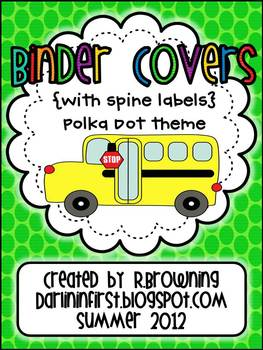 Binder Covers {With Spine Labels}...Polka Dot