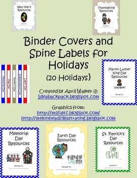Binder Covers and Spine Labels for Holidays