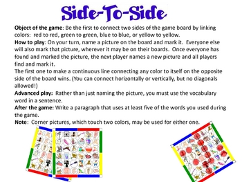 Bingo Side-To-Side  - Vocabulary Game - Reflexive Verbs, B