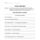 Bio Poem Template (Use for Students or Characters!)