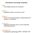 Biochemistry and Energy Unit Vocabulary Lesson Plan