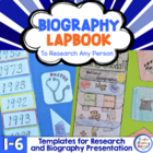 Biography Lapbook to Research Any Person - CCSS 1.W.7,   2