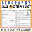 Biography Reading & Writing Unit Grade 4: 40 Detailed Less