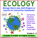 Biology Interactive Notebook, Warm Ups, Bell Ringers: Ecol