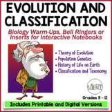 Biology Interactive Notebook, Warm Ups, Bell Ringers: Evol