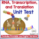 Biology Test:  RNA, Transcription and Translation