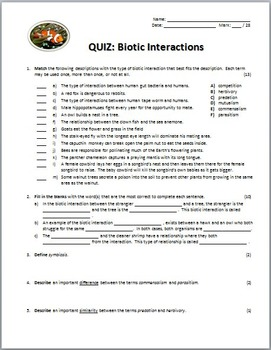 Biotic Interactions - Quiz