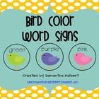 Bird Color Word Signs