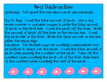 Bird Subtraction Math Center