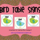 Bird Table Number Signs