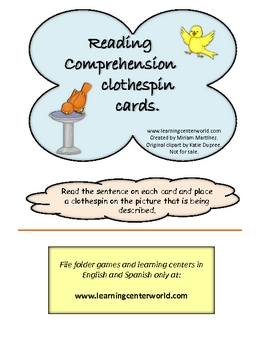 Birds - reading comprehension clothespin cards