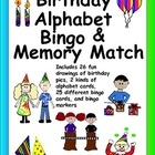 Birthday Alphabet Bingo and Memory Match - 26 fun drawings