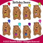 Birthday Bears Clip Art by Jeanette Baker