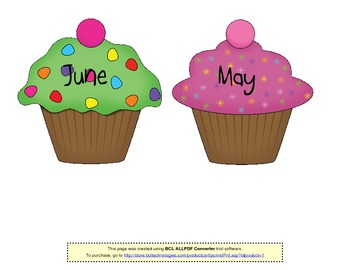 Birthday Cupcakes (for bulletin board)