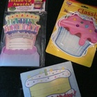 Birthday Rewards - stand up cards, cupcake cutouts, certificates