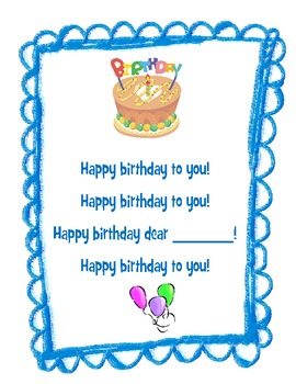 Birthday Song Printable