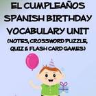 Birthday Vocabulary Lists, Activities, Crossword, Games, a
