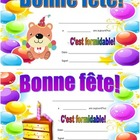 Birthday certificates in French