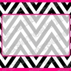Labels: black and pink chevron, 10 per page