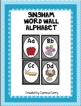 Black Gingham Word Wall Alphabet Letter Cards