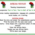Black History African Fabric & Cloth Integrating Reading,