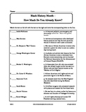 Black History Month - What Do You Know Worksheet