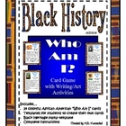 Black History &quot;Who Am I?&quot; Card Game with Writing and Art Activity