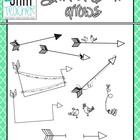 Black Line Doodle Arrows Clip Art Set