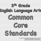 Black &amp; White 5th Grade Common Core Standards - English La