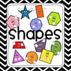 Black & White Chevron 2D and 3D Shapes Poster Set
