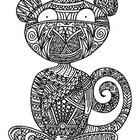 Black & White Detailed Monkey Coloring Sheet