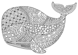 Black & White Detailed Whale Coloring Sheet