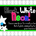 Black, White &amp; Neon Classroom Decor - Stars