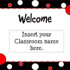 Black, White, &amp; Red Themed Polka Dot Open House Powerpoint