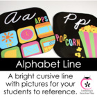 Black With Brights ZB Cursive Alphabet Line (Consistent Colors)