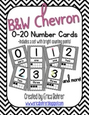 Black and White Chevron Number Signs {with counting points}
