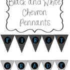 Black and White Chevron Pennant- First Grade