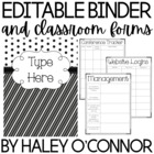 Black and White Editable Teacher Binder