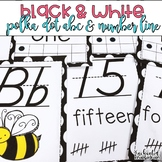 Black and White Polka Dot Alphabet and Number Line - D'Nealian