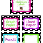 Black and White Polka Dot Classroom Labels Freebie