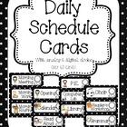 Black and White Polka Dot Daily Schedule Cards {with and w