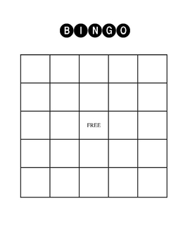 Blank BINGO Boards with Student Work Space