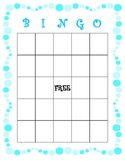 Blank Bingo Card - Blue Bubbles