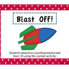 Blast Off Counting Backward from 10 Math Center Activity